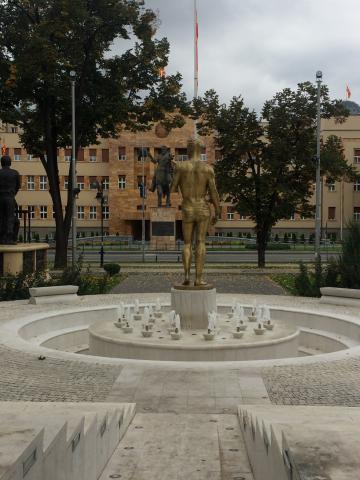 Het parlementsgebouw van Macedonië in de hoofdstad Skopje